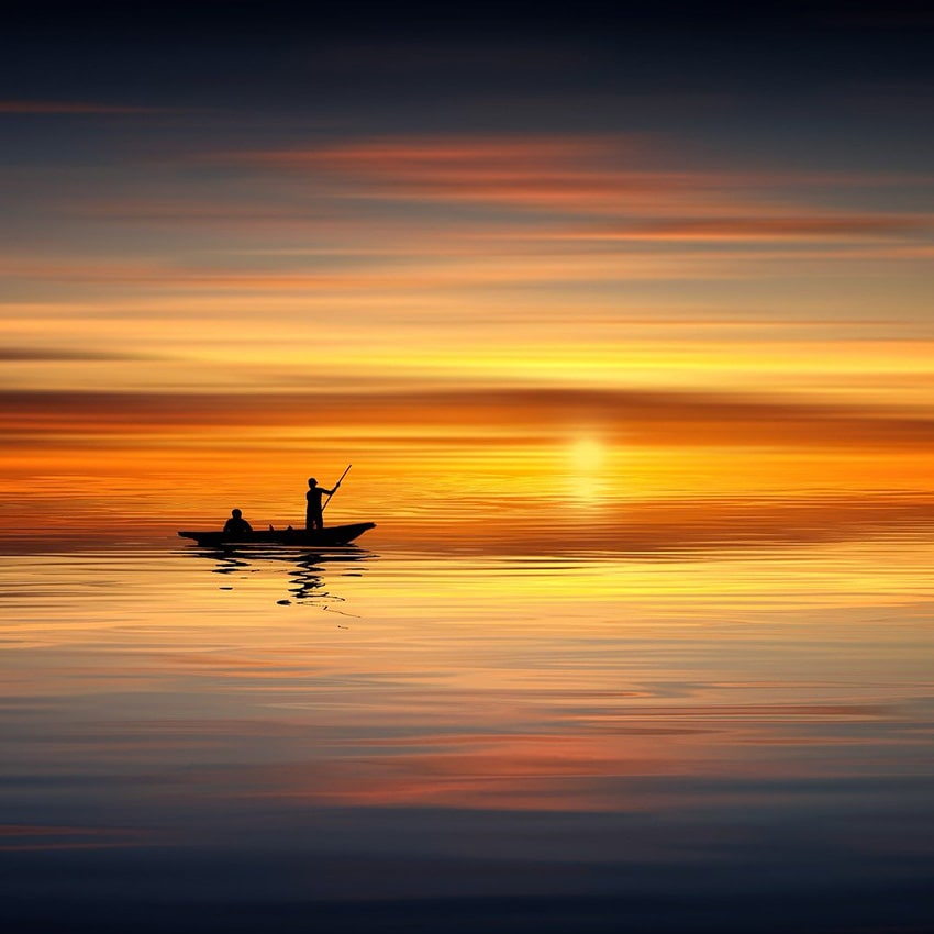 Barque soleil lac